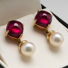 2Ct Cabochon Cut Ruby Synthtic Pearl Dangle Drop Earrings Yellow Gold Fns Silver