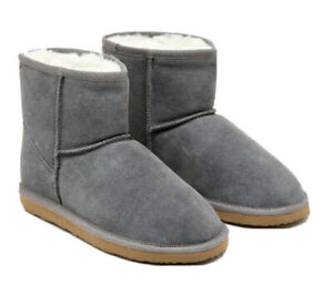 Peter Alexander - NEW Grey Homeboots/Slippers Size 4-5/Suede/Sheepskin Lining
