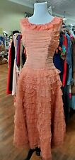Euc Genuine 1950s Vintage Peach Lace Tiered Prom Dress Small Gown Tool Formal