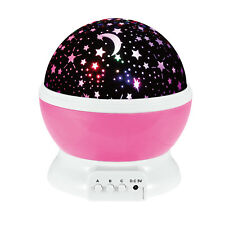 Kids Children LED Rotating Projector Starry Night Lamp Star Sky Projection Light Pink