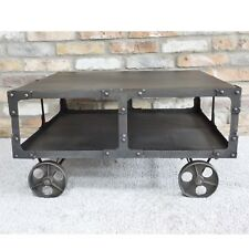 Square Industrial Coffee Table Vintage Distressed Retro 2 Tier On Cart Wheels