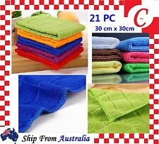 21 PC Microfibre Cleaning Cloth Microfiber Dish Car Gym Towel Glass Bulk New