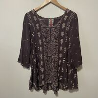 Johnny Was Plum Purple Eyelet Embroidered Scalloped Silk Boho Hi Lo Tunic Top S