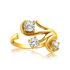 0.21tw Naturel Diamant Rond 14K Solide or Jaune Orteil Bague