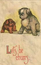 CARTE POSTALE POST CARD FANTAISIE DOG CHIEN LET'S BE CHUMS