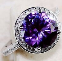 Must Have 3CT Amethyst & Topaz 925 Solid Sterling Silver Ring Jewelry Sz 6, U-10
