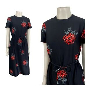 1960s Floral Dress/ Gothic Pixelated Red Rose Flower Print Shift Dress / Small
