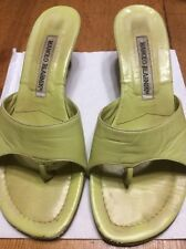Manolo Blahnik Green Leather Sandals 35.5 5.5 / 35 5