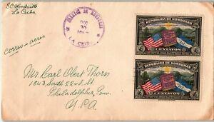 Honduras Postal History: LOT #6 1937 92c Air Franking LA CEIBA - PHILADELPHIA $$
