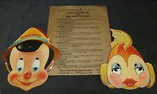 Disney 1939 Pinocchio Gillette Razor Blades Masks Set of 2 Premium Cleo