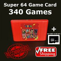 New Super 64 Retro Game Card 340 In 1 Game Cartridge For N64 Video Game Consoles