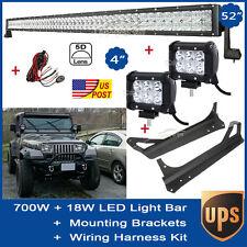 "5D 52Inch 700W + 2X 4"" 18W LED Light Bar + Mount Bracket Fit Jeep Wrangler TJ LJ"