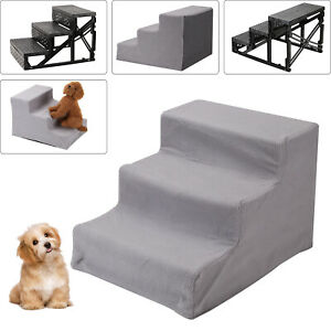 3 Steps Pet Dog Ladder Soft Stairs Puppy Washable Cover Ramp Folding Doggy Grey