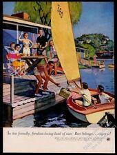 1953 happy family sailboat friends John Falter art US Brewers print ad