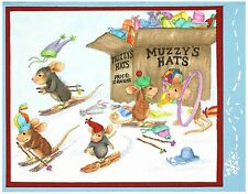 Hat Box HOUSE MOUSE Wood Mounted Rubber Stamp STAMPENDOUS, NEW - HMR76