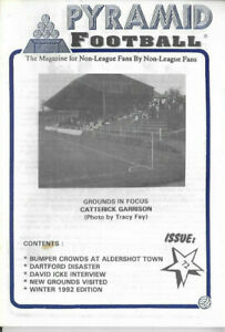 PYRAMID FOOTBALL Issue No.72 (Winter 1992 Issue) cover pic. Catterick Garrison
