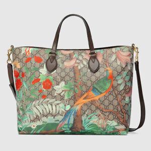 GUCCI Tian Tote Shoulder Bag GG Supreme 453705 K5LBG Bird Floral Auth New Unused
