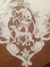 "Figural Hunt Scenes TABLECLOTH MADEIRA Richelieu Embroidered Needle Lace 62""x96"""