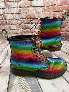 Dr Martens Ombre Glitter Rainbow BootsUK Size 2 Kids Children