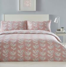Reversible Tulip Leaf Double Duvet Quilt Cover Bedding Set - Coral, Pink, Cream