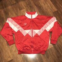Vtg 80s 90s Red White UMBRO Mens LARGE Team Warm Up Track Jacket Coat Shiny Poly