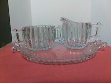 Vintage Pressed Glass Ribbed Pattern Sugar and Creamer and Tray