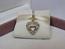 New Pandora 14Kt Gold Romantic Heart Dangle Charm 751001CZ G585 Love Heart