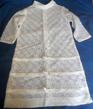 VINTAGE 1960'S GIRLS WHITE NYLON LACE A LINE DRESS AGE 10 ? 30 INCH CHEST