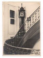 PHOTO ANCIENNE Escalier Horloge Temps Heure Château 1930 ? Intérieur Tableau