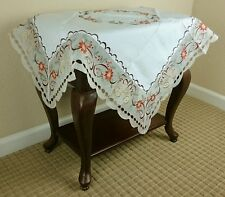 """Elegantlinen Christmas Embroidered Organza Fabric Embroidery Tablecloth 36x36"""""""