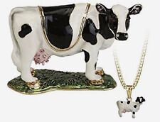 Secrets from Hidden Treasures COW Pewter Trinket Box & Pendant (1053) NEW