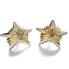 Ohrringe Ohrclip Ohrclips Sterne bicolor goldf silberfarben groß Anklipsen NEU