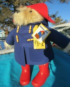 "VINTAGE PADDINGTON TEDDY BEAR LARGE 20"" BLUE COAT RED HAT BOOTS RAINBOW DESIGNS"