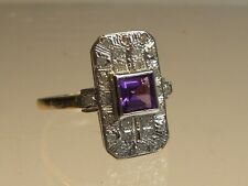 9ct GOLD REAL AMETHYST & DIAMOND ART DECO STYLE RING