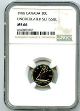 1988 CANADA 10 CENT DIME NGC MS66 UNCIRCULATED SET ISSUE