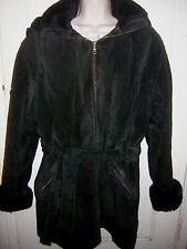 Womens Wilson'sLeather BlackJacket w/Removable Hood FauxFurLining Belt SzM  GUC