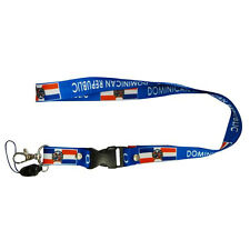 DOMINICAN REPUBLIC BLUE COUNTRY FLAG LANYARD KEYCHAIN PASSHOLDER ..  NEW