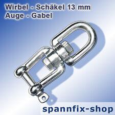 Wirbel-Schäkel 13 mm Auge-Gabel A4 Edelstahl Niro Wirbelschäkel Schäkel LOXX