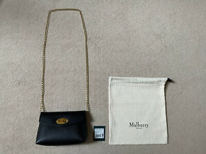 BNWT Mulberry Darley Bag - Black - Chain Strap Conversion - Cosmetic Clutch Lily