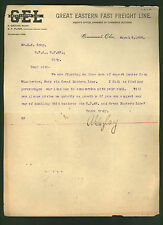 Great Eastern Fast Freight Line * signed 1900 letter * C P & V Railroad * Gazlay