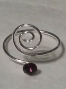 Sterling Silver 925 Toe Ring Wrap Swirl Purple Crystal Adjustable