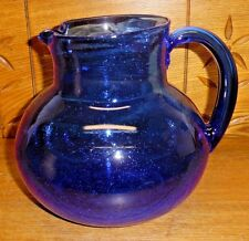"""Contemporary Bubble Cobalt Blue Glass Pitcher - 7 1/4"""""""