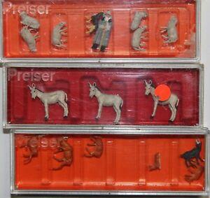 Preiser Spur H0 drei Boxen 14178, 14160, 10151 Schäfer mit Schafen Rehe, 3 Esel