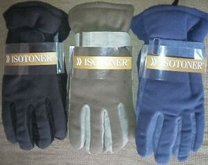 NWT Mens ISOTONER Everyday Gloves Size MD/LG Fleece w/Leather Palm