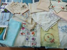 Job Lot Vintage Linen Cotton Table Cloths Tray Cloths Napkins Tea Towels