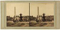 Place Da La Concorde Parigi Francia Foto PL52n Stereo Vintage Albumina c1860
