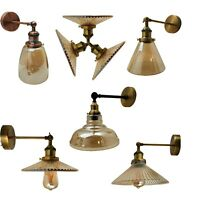 Edison Industrial Wall Lamp Vintage Wall Light Sconce Amber Glass Shade BIG SALE