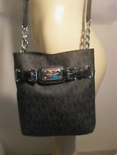 NWT Michael Kors Hamilton Black MK Messenger Crossbody PVC Bag Handbag Purse