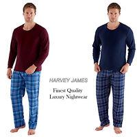 Harvey James Mens Checked Print Thermal Fleece Long Sleeve Pyjama Set Loungewear