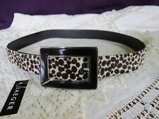 new genuine JAEGER leather BELT leopard animal black enamel buckle size med bnwt